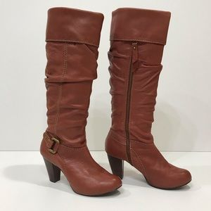 Fossil Brown Heeled Boots size 8.5